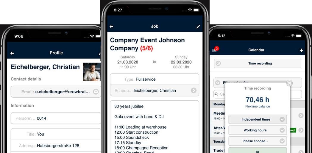 App Web sur trois iPhones